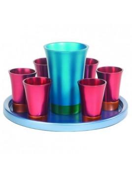 Set de Kidouch verre et avec assiette assortie + Set de 6 verres anodisé bleu + Bordeaux + turquoise