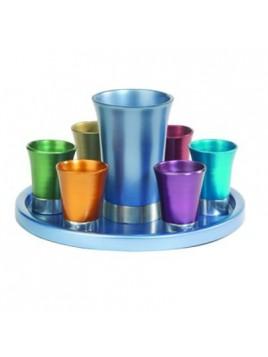 Set de Kidouch verre et avec assiette assortie + Set de 6 verres anodisé multicolore