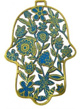 Hamsa forgé Fleurs turquoise