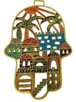 Hamsa forgé Jérusalem multicolore