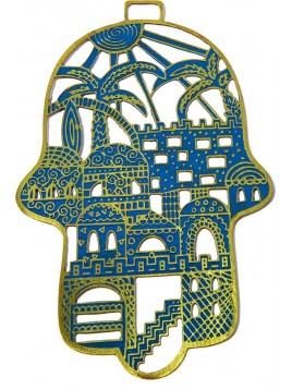 Hamsa forgé Jérusalem turquoise