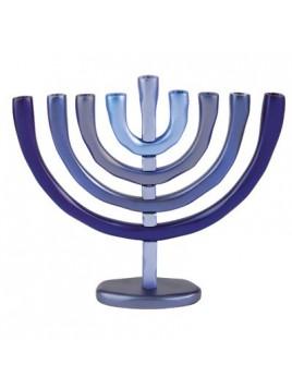 Hanoukiah a 9 branches anodisé bleu