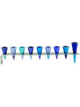 Hanukiah plaque avec des cônes en métal bleu