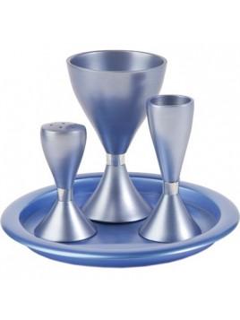 Set de Havdallah anodisé Bleu