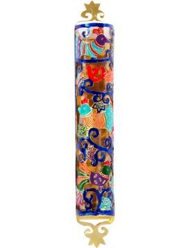 Boitier Mezouza Taillé sur métal Thème d'oiseaux multicolore