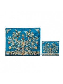 Pochette a Talith broderie machine Fleurs Couleur Or