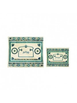 Pochette de Taleth Avec broderie de lin bleu