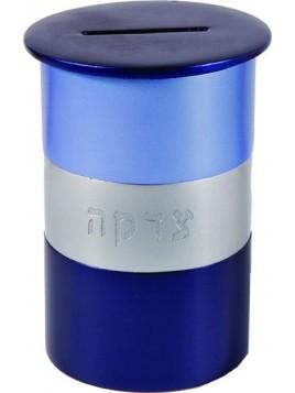 Boite de Tsedaka en métal rond bleu