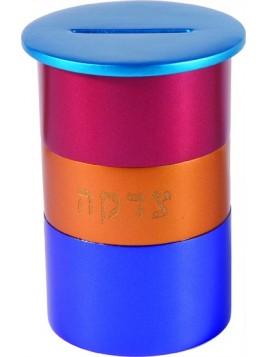 Boite de Tsedaka en métal rond turquoise + multicolore