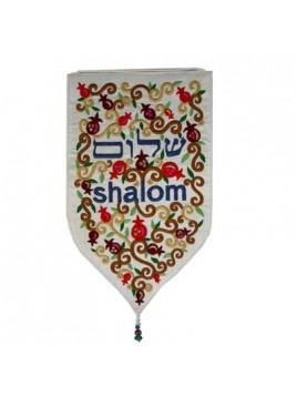 """Décoration Murale forme spéciale XXL """"Shalom"""" en Hébreu En anglais Blanc"""