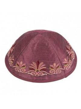 Kippa Avec broderie vague Rose
