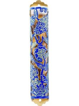 Boitier Mezouza Taillé sur métal Fleurs bleu
