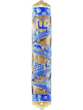 Boitier Mezouza Taillé sur métal Thème a train bleu
