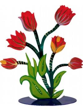 Fleur Tailler au laser + peint a la main Tulipe