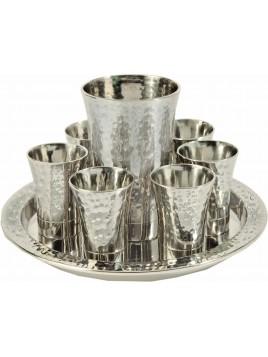 Set de 6 verres + Verre de Kiddouch en nickel