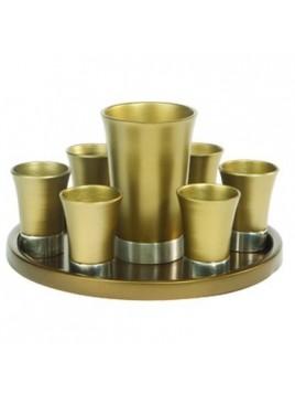 Set de Kidouch verre et avec assiette assortie + Set de 6 verres anodisé Couleur Or