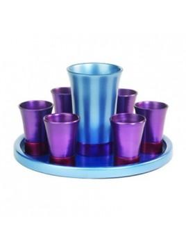 Set de Kidouch verre et avec assiette assortie + Set de 6 verres anodisé bleu + violet