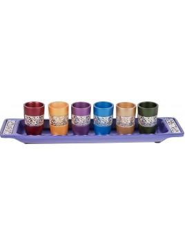 Set de 6 verres avec assiette assortie broderie argenté multicolore