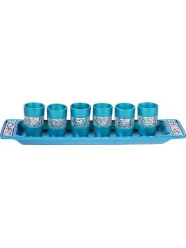 Set de 6 verres avec assiette assortie broderie argenté turquoise