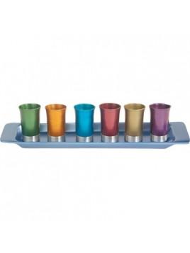 Set de 6 verres avec assiette assortie anodisé multicolore