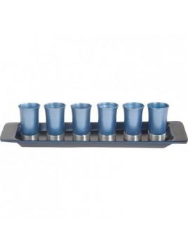 Set de 6 verres avec assiette assortie anodisé bleu