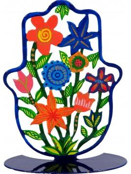 Petite Hamsa Sur stand en métal Fleurs peint a la main