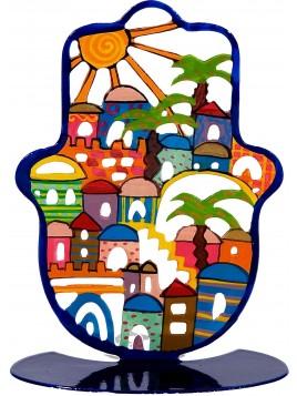 Petite Hamsa Sur stand en métal Jérusalem peint a la main