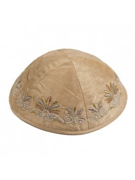 Kippa Avec broderie vague Marron