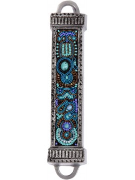 Boitier Mezouza en métal Avec Broderies turquoise