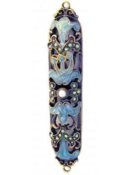 Boitier Mezouzah sertie de cristaux Light bleu 8cm