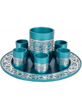 Set de Kidouch broderie argenté bleu