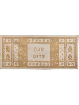 """centre de table de lin imprimé 100cm """"Shalom"""" Couleur Or"""