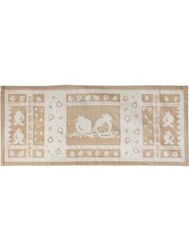 centre de table de lin imprimé 100cm Grenadier Blanc